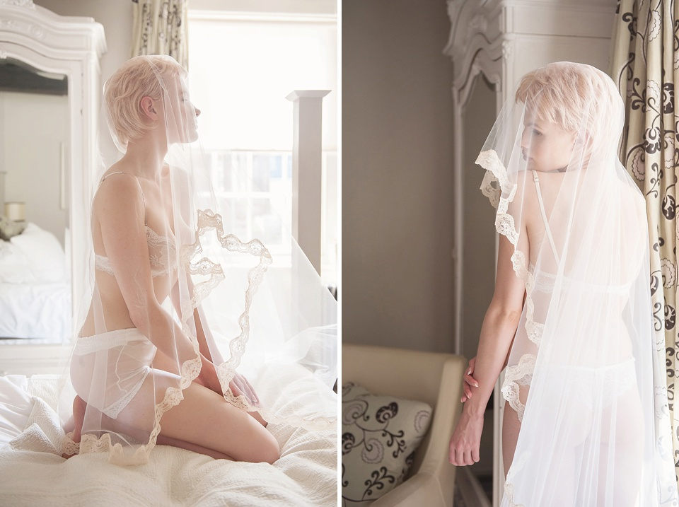 Soft and gentle bridal boudoir shoot, Ell & Cee lingerie, veil by Faith Caton-Barber at The George in Rye Kent editorial photography © Fiona Kelly Photography