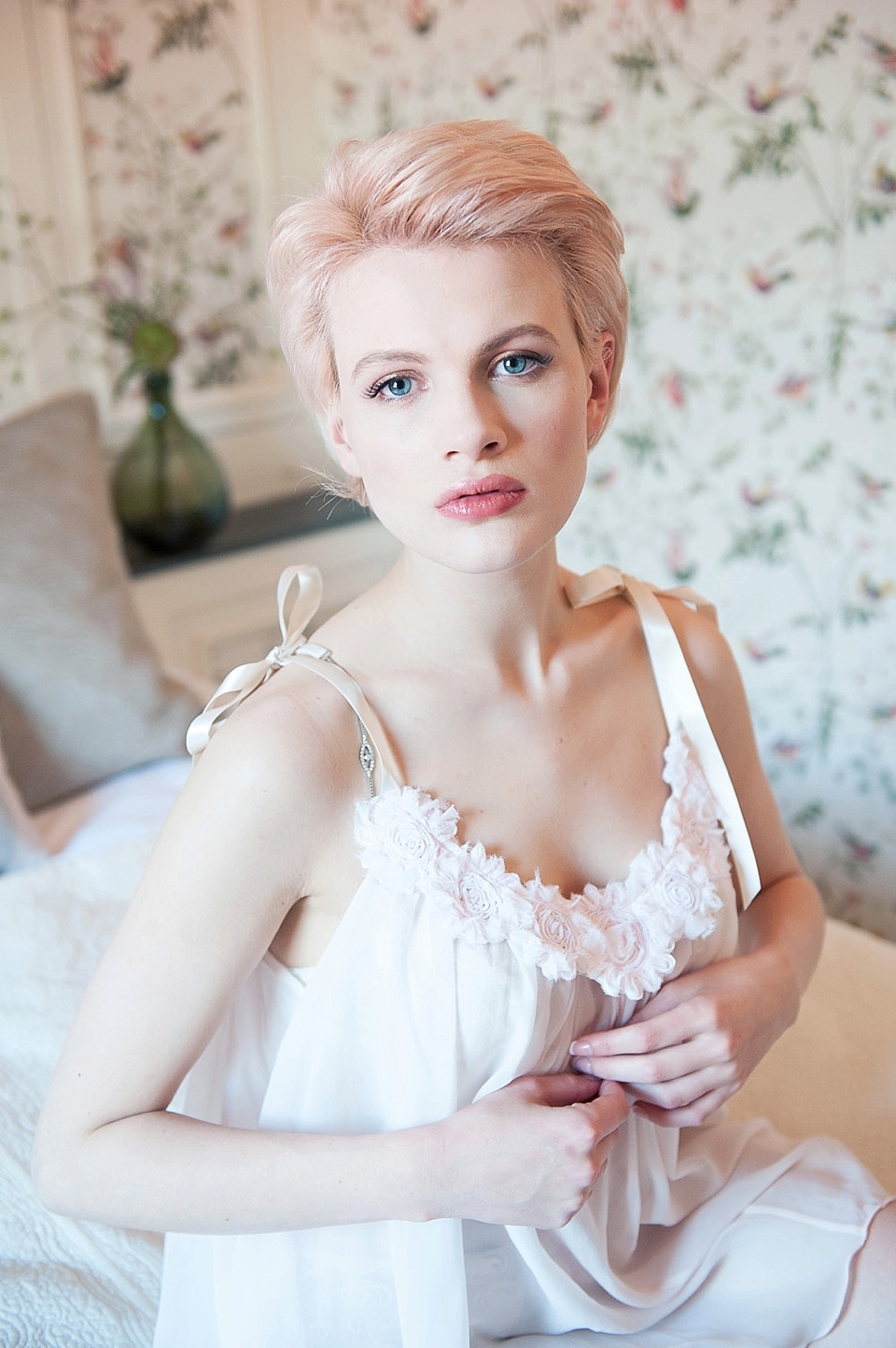 Feminine bridal boudoir shoot - Chloe-Jasmine Whichello in Ell & Cee babydoll lingerie at The George in Rye Kent fine art photography © Fiona Kelly Photography