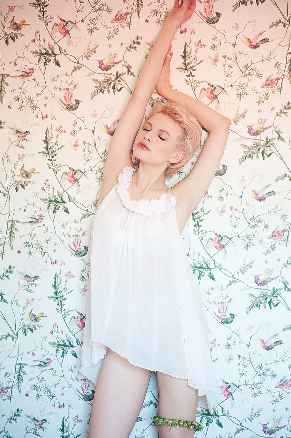 Blonde in beautiful feminine boudoir shoot, makeup by Mariam Jensen, shot at The George in Rye - fine art photography (C) Fiona Kelly Photography