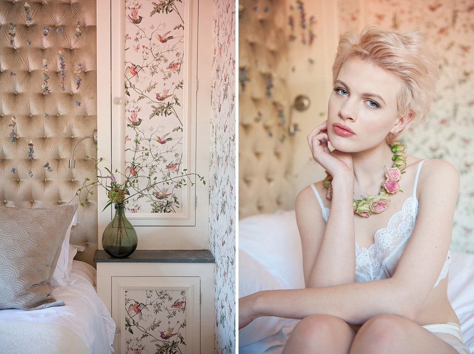 Makeup by Mariam Jensen, necklace made of roses, lingerie by Ell & Cee lingerie - Feminine bridal boudoir shoot - flowers by Indeco Flowers at The George in Rye Kent editorial photography © Fiona Kelly Photography