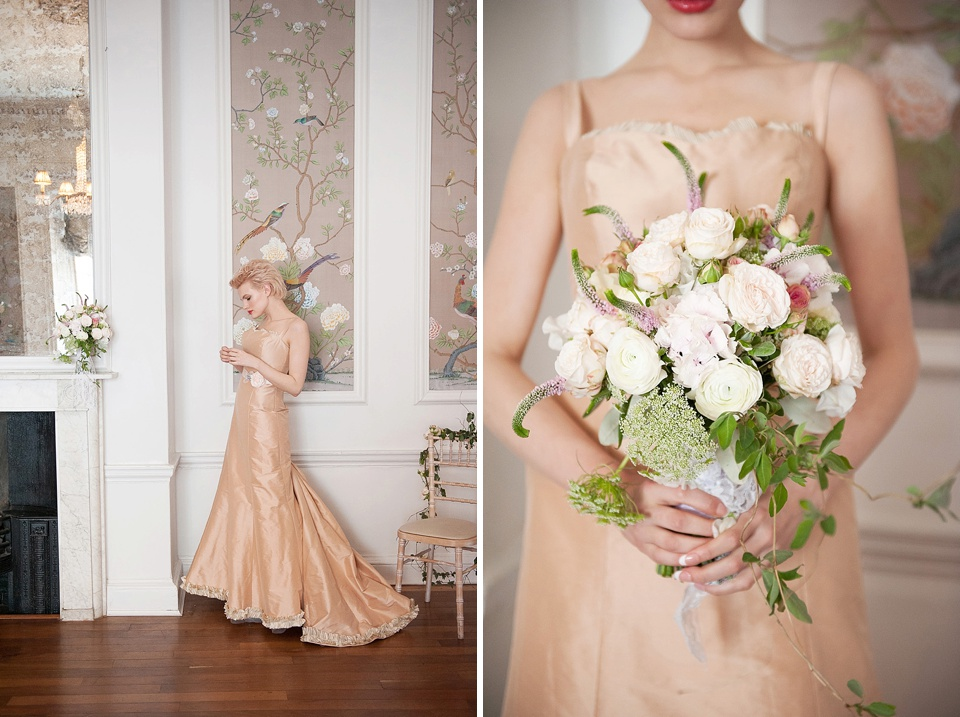 Peach fishtail wedding dress by Faith Caton-Barber, wedding flowers by Indeco Flowers at The George in Rye Kent wedding boudoir photographer © Fiona Kelly Photography