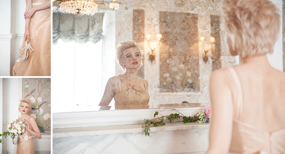 Chloe-Jasmine in bespoke peach wedding dress by Faith Caton-Barber, styled by Bloved, flowers by Indeco Flowers at The George in Rye Kent wedding boudoir photographer © Fiona Kelly Photography