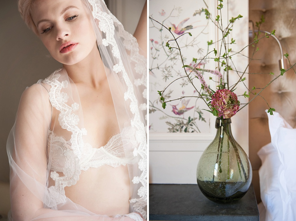 Veil by Faith Caton-Barber, lingerie by Ell & Cee, flowers by Indeco Flowers at The George in Rye Kent editorial photography © Fiona Kelly Photography