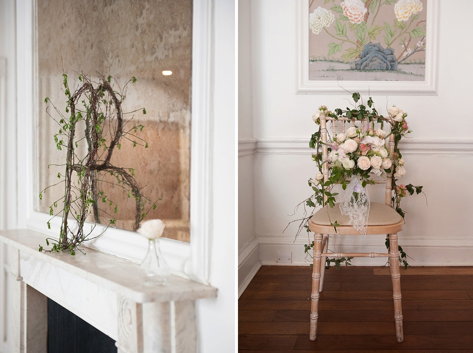 Chair covered in flowers - feminine bridal boudoir shoot styled by Bloved, flowers by Indeco Flowers at The George in Rye - fine art photography © Fiona Kelly Photography