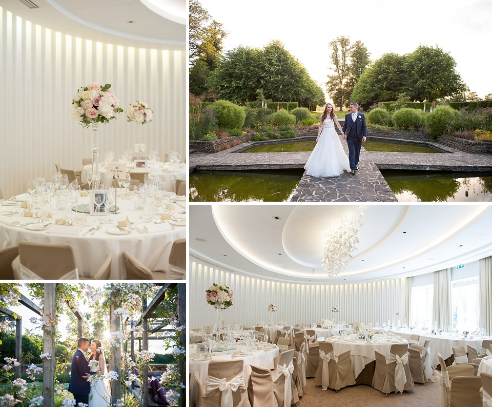 Rose garden, golden hour wedding portraits, Surrey wedding venues - Coworth Park © Fiona Kelly Photography