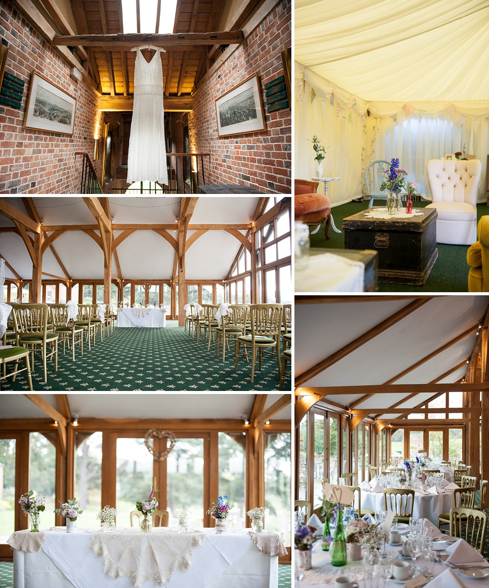 Loose unstructured wedding dress - Marquee laid out, golden chairs for ceremony room at Brocket Hall Golf Club - Amazing Hertfordshire wedding venues - Brocket Hall © Fiona Kelly Photography