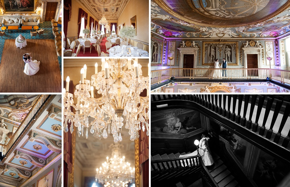 Chandeliers and grand wedding portraits - Grade 1 listed house - Amazing Hertfordshire wedding venues - Moor Park Mansion © Fiona Kelly Photography