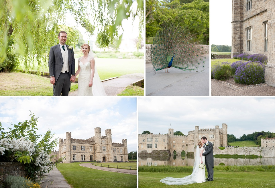 Grand wedding at a castle complete with peacocks and amazing gardens, and a lake - historical Kent wedding venues - Leeds Castle © Fiona Kelly Photography