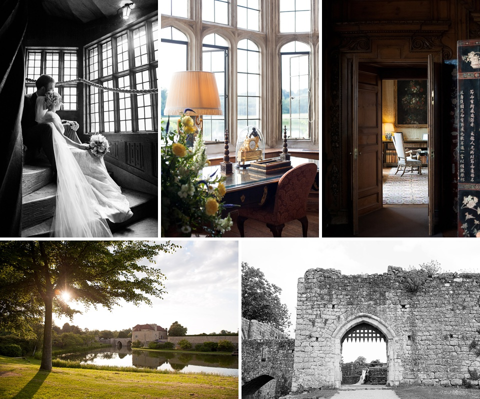 Grand wedding at a castle complete with gates and a lake, beautiful doorways and windows shedding golden light - historical Kent wedding venues - Leeds Castle © Fiona Kelly Photography