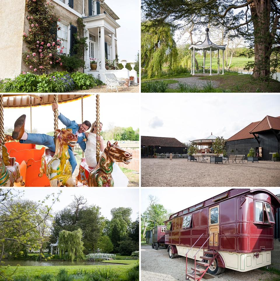 Beautiful house and gardens with gypsy caravan and carousel - Amazing Kent wedding venues - Preston Court © Fiona Kelly Photography