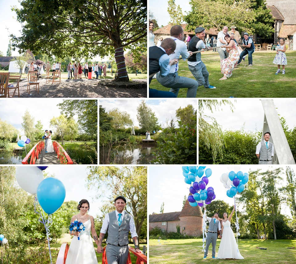 Tug of war and bright blue and purple theme at Festival garden wedding - Quirky Kent wedding venues - Ratsbury Barn © Fiona Kelly Photography