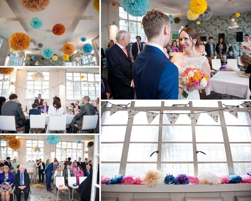 Colourful pompom in quirky art deco London wedding venues - Brockwell Lido Cafe © Fiona Kelly Photography