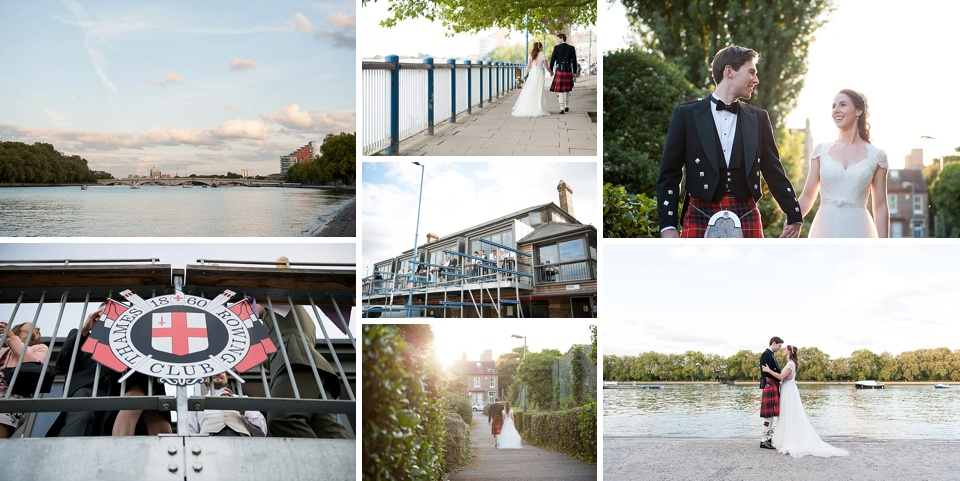 Groom wearing kilt and bride in lace wedding dress - Cool London wedding venues - Thames Rowing Club © Fiona Kelly Photography
