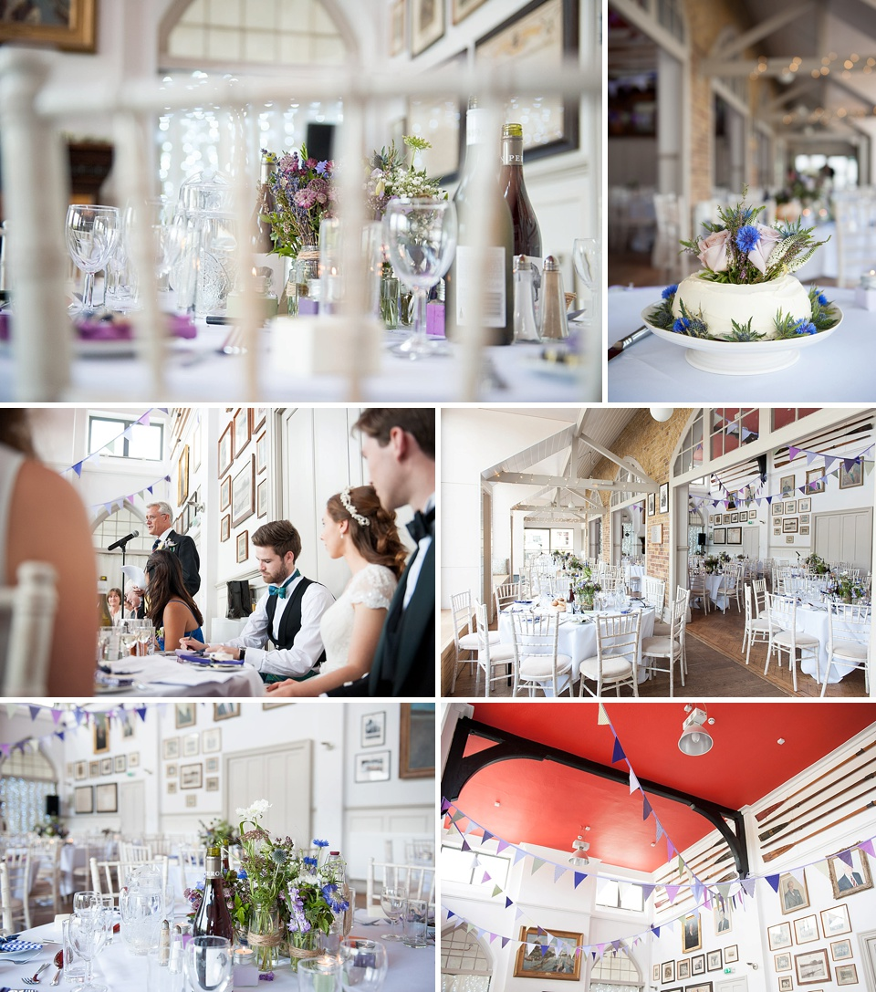 Scottish wedding theme with thistles and pops of purple - Cool London wedding venues - Thames Rowing Club © Fiona Kelly Photography
