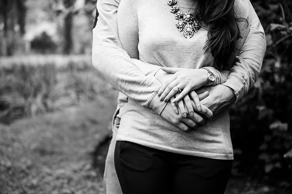 Arms around each other - Engagement shoot in the park © Fiona Kelly Photography