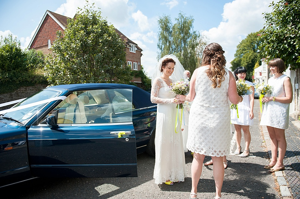540a7698e041 ... Kelly Photography Wedding Traditions - Bride arrives at wedding with  bridesmaids all in white shift dresses © Fiona