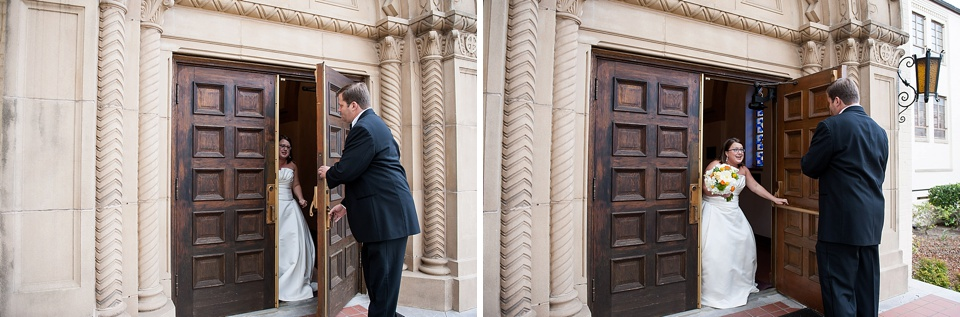 First look - the bride and groom see each other before the ceremony - natural wedding photography by Fiona Kelly