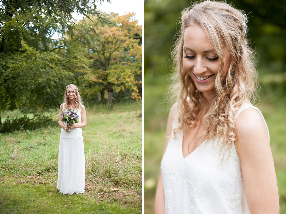 Bride in unstructured loose wedding dress with blonde curls - the tradition of the wedding veil and white wedding dress - natural wedding photographer - Fiona Kelly