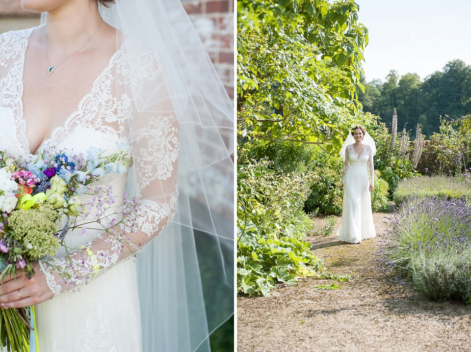 Lace sleeve dress like Duchess of Cambridge - The tradition of the wedding veil and white wedding dress - bridal portrait by Fiona Kelly wedding photographer