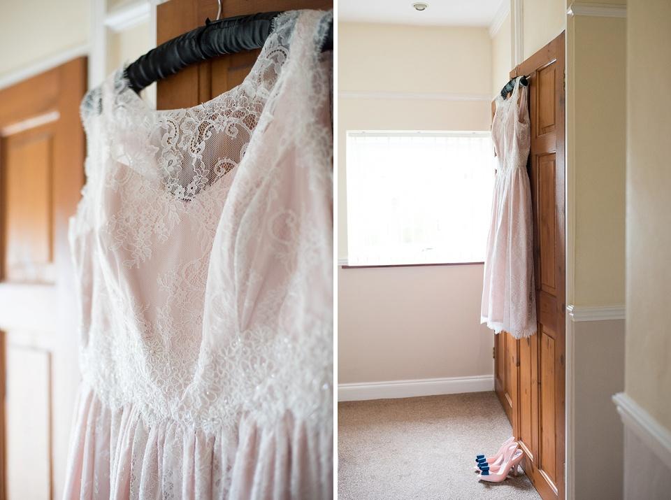 Bespoke pink lace short wedding dress - The tradition of the wedding veil and white wedding dress - Capturing your wedding story - natural wedding photographer - Fiona Kelly