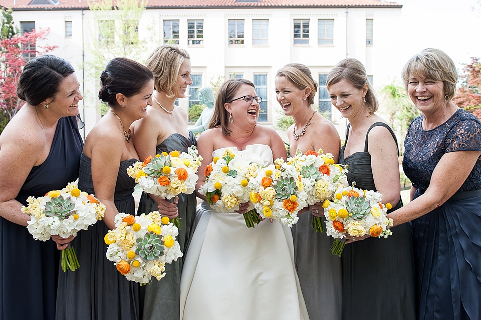 bride & bridesmaids with bouquets-orange yellow and succulents_0006