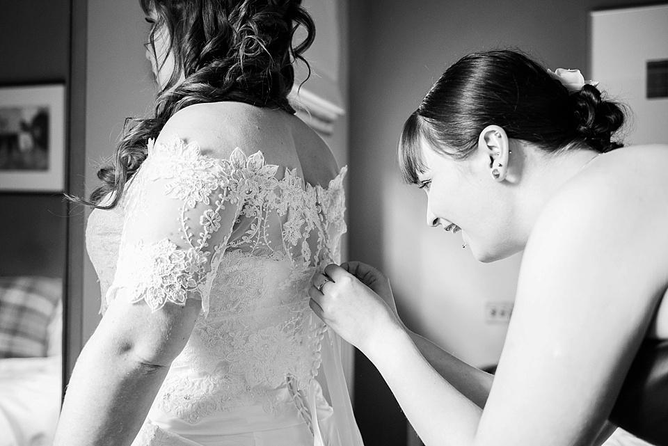 Off the shoulder lace wedding dress