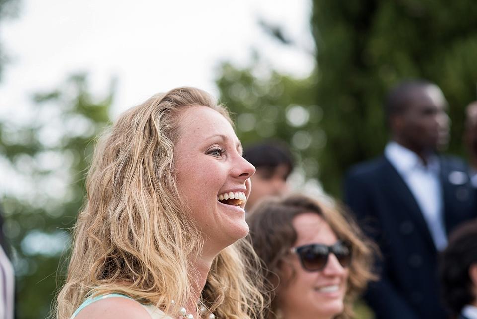 Blonde woman laughing