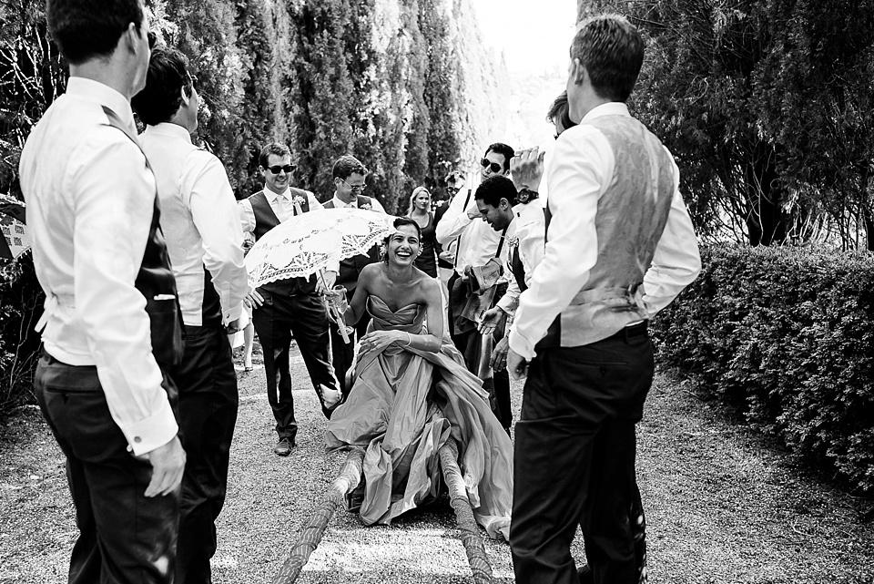 Bride on doli, Tuscany wedding