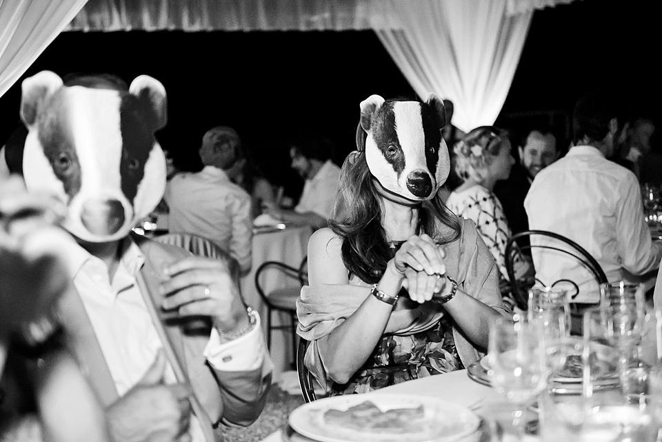 259 Badger-masks-Tuscany-wedding
