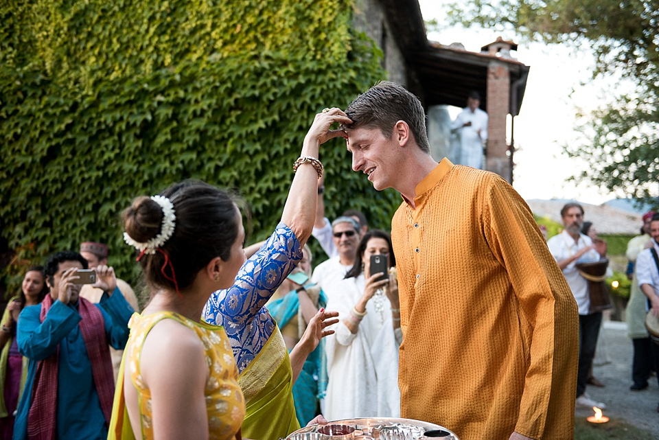 Groom blessed in Indian wedding, Tuscany