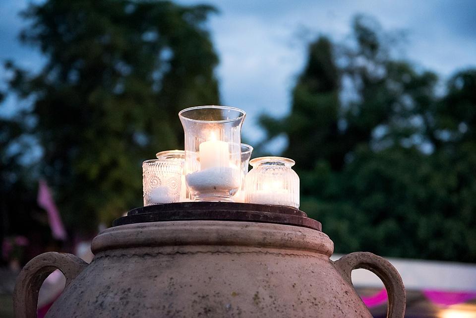 Burning candles at Tuscany wedding
