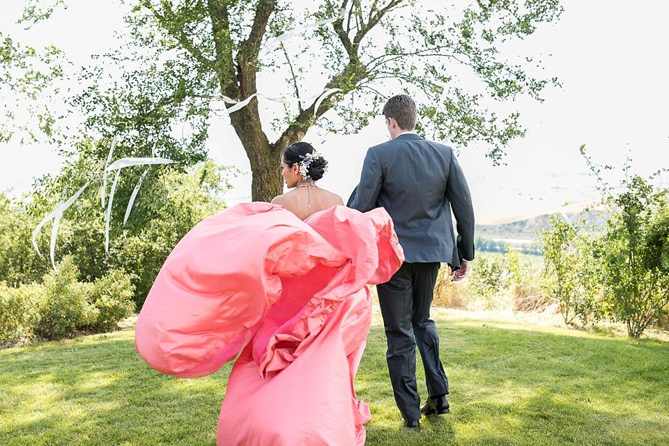Dramatic pink wedding dress Tuscany