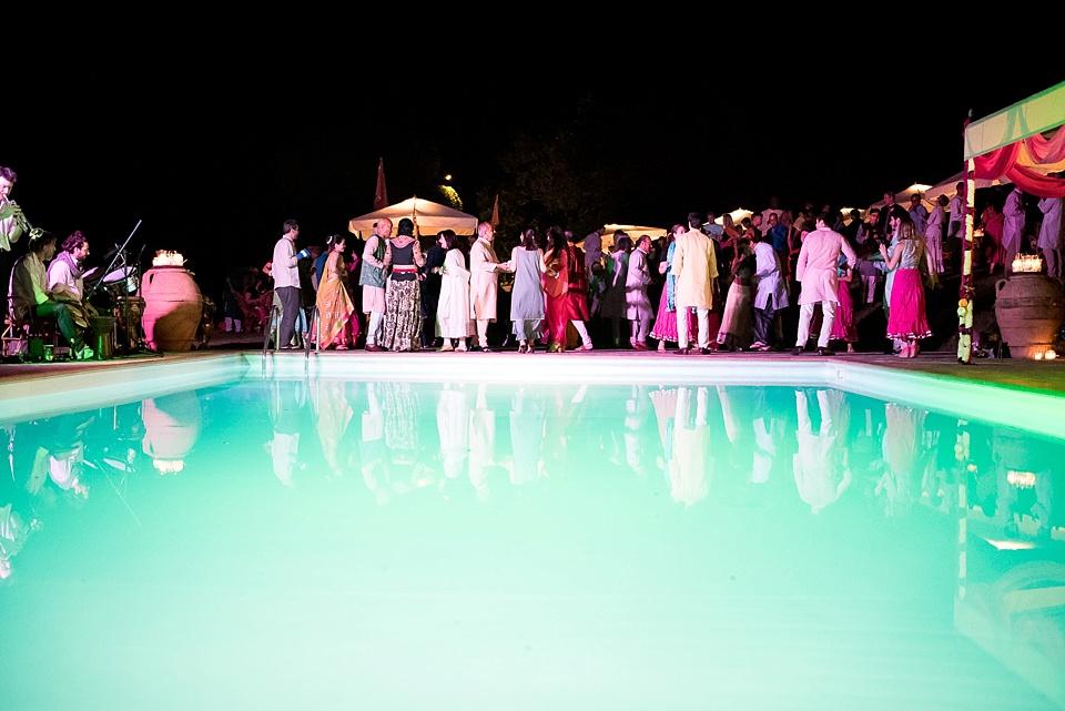 Tuscany wedding dance floor next to the pool