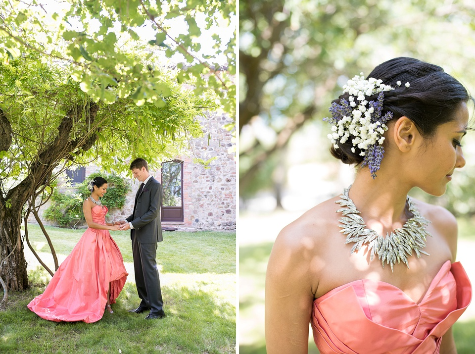 Tuscany wedding pink bride