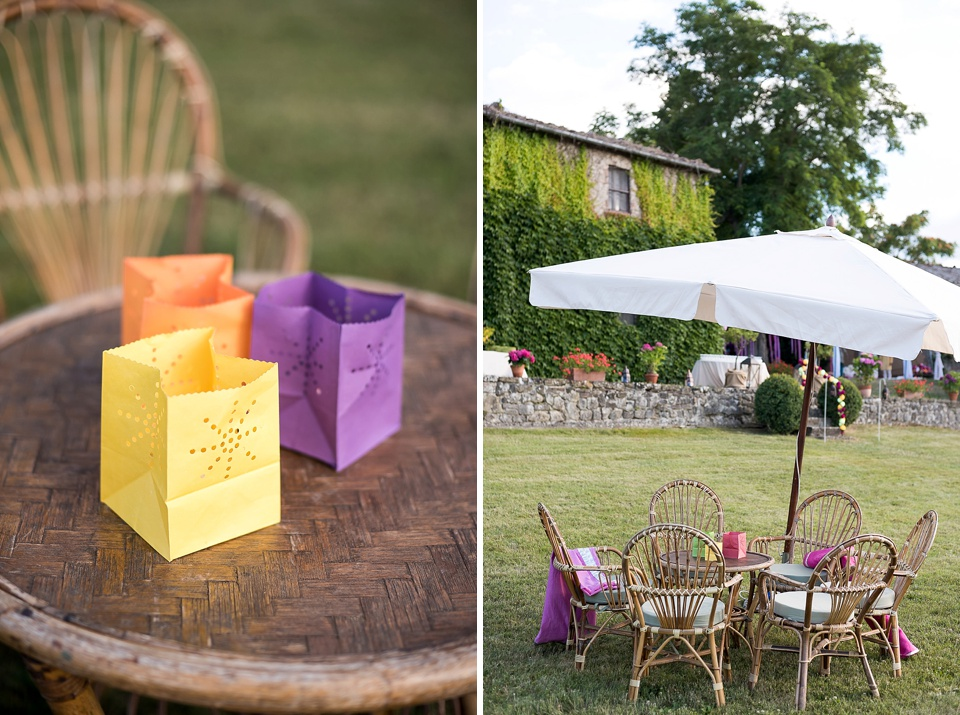 Colourful paper lanterns for Tuscany wedding