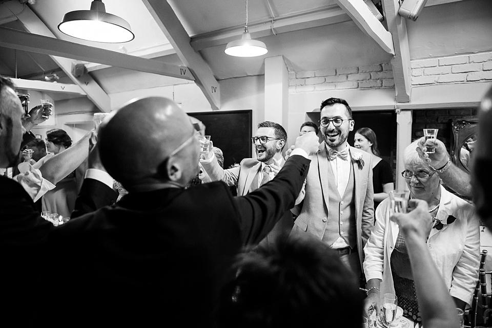155 London wedding toast with shots