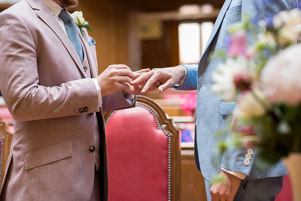 17 Same sex wedding pink suit blue suit
