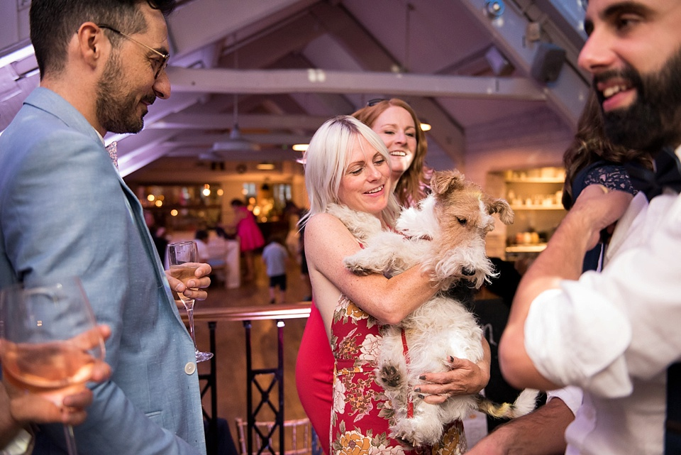183 Woman holding dog at London wedding
