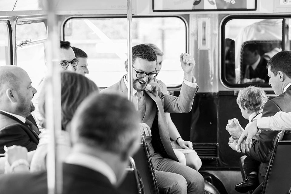 45 Grooms on London wedding bus