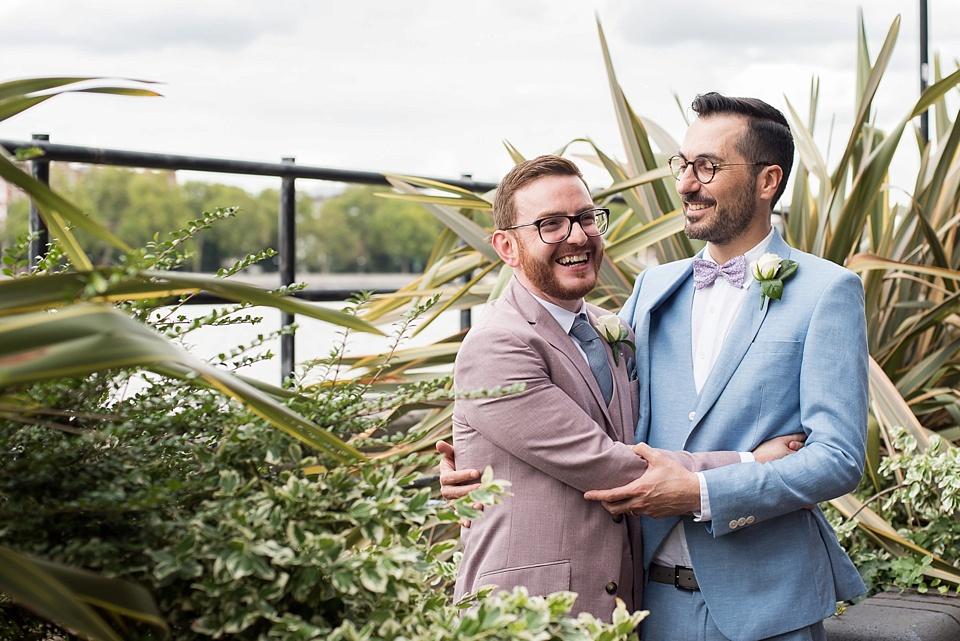 55 Two grooms London wedding portrait