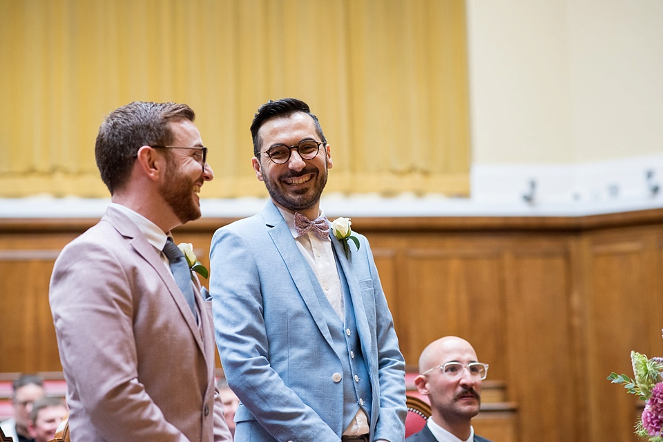 8 same sex wedding pink and blue suits