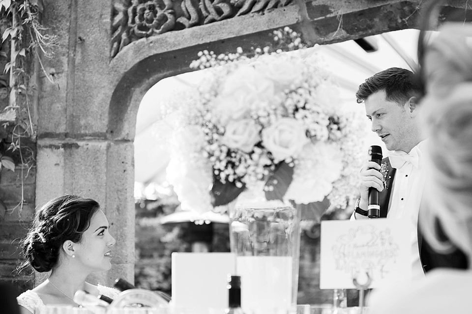 Groom delivers speech at London wedding