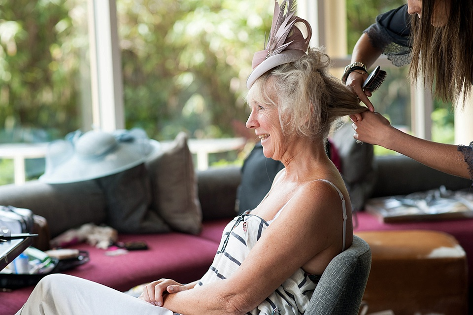 Mother of the bride having hair done