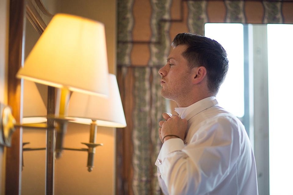 Groom getting ready London wedding