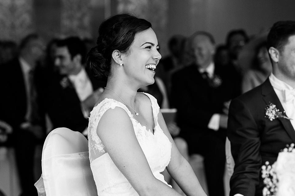 Bride laughing London wedding