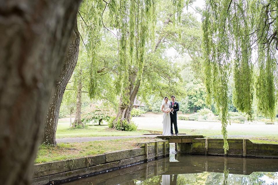 Leeds Castle wedding portrait under willow