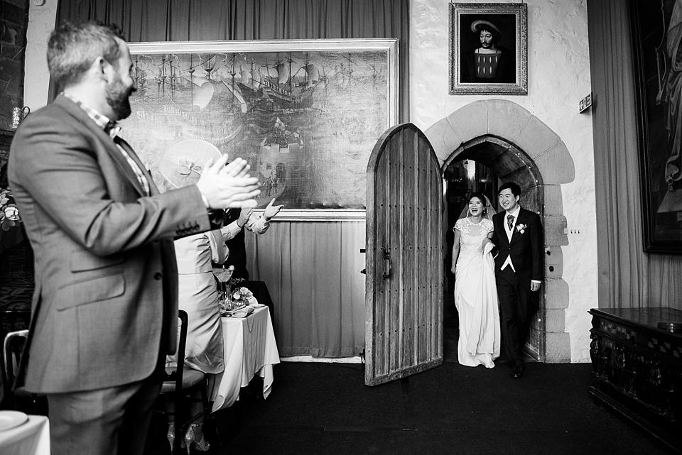 Bride and groom entrance Leeds Castle