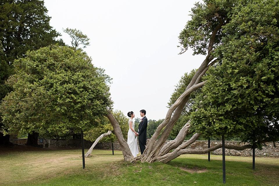 Wedding portrait Leeds Castle gardens