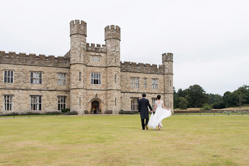 Dramatic Leeds Castle wedding portrait