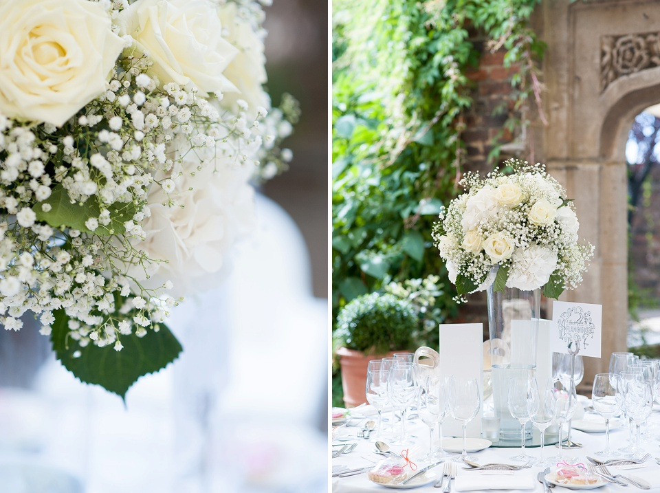 White roses and gysophila centrepieces